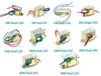 1X 220V 50Hz AC Power Transformer Single/Dual 3W/5W/9W/10W/30W/50W Output 9V-24V