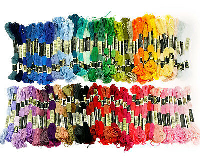 100 Mixed Colors Cross Stitch Cotton Embroidery Thread Floss Sewing Skeins Craft