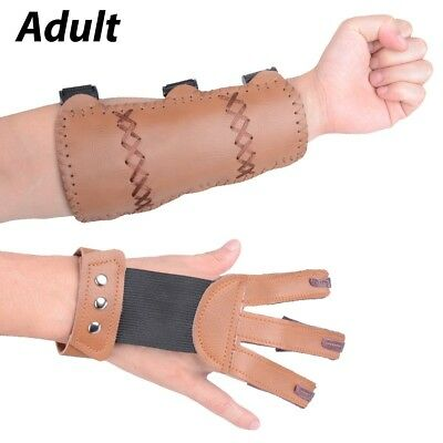(Brown - Leather (Adult Size)) - XTACER (Finger Protector & Arm Guard) 3-Strap
