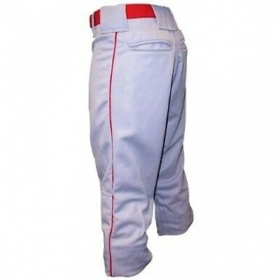 Baseball Pant with Piping - Youth - Grey / Scarlet. Sport Supply Group