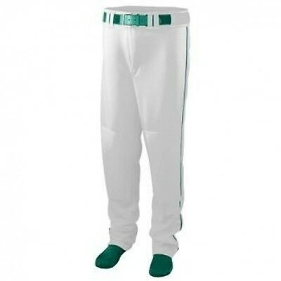 Youth Series Baseball/Softball Pant with Piping - WHITE and GREEN - X-LARGE