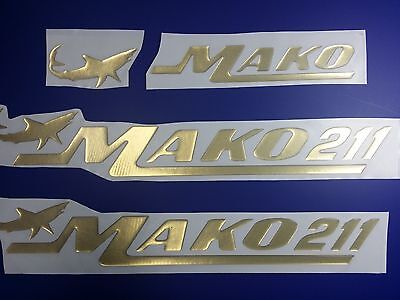 "MAKO 211 boat Emblem 22,3"" GOLD Epoxy Stickers Resistant to mechanical shocks"