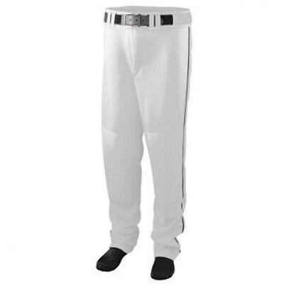 Series Baseball/Softball Pant with Piping - WHITE AND BLACK - MEDIUM. Augusta