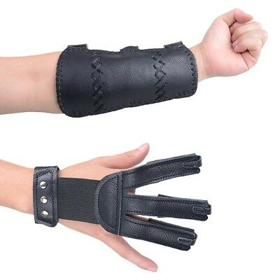 (Black - Leather (Adult Size)) - XTACER (Finger Protector & Arm Guard) 3-Strap