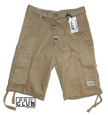 (32) - Pro Club Men's TWILL CARGO SHORT PANTS - Khaki. Brand New