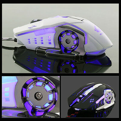 Wired LED Light 4000DPI Optical USB Ergonomic Pro Gamer Gaming Mouse Metal Mice
