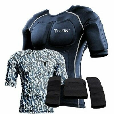 (X-Small, Navy Digital Camo) - The TITIN Force Weighted Shirt System - 3.6kg Of