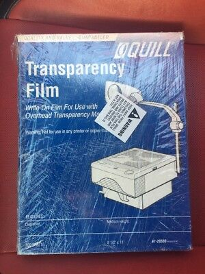 """Quill Transparency Film, New, Factory Sealed, 100 Sheets, 8.5"""" x 11"""""""