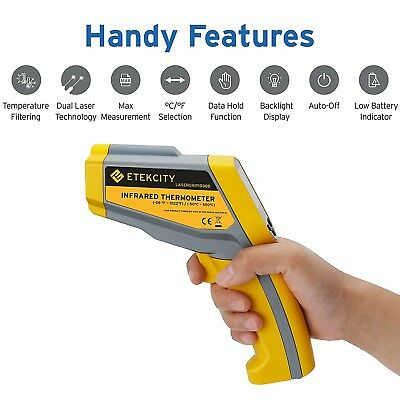 Etekcity Lasergrip 1030D Non-contact Digital Dual Laser Infrared Thermometer Tem