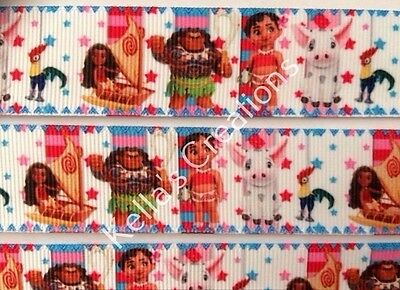 """Moana characters Grosgrain Ribbon 1"""" sold by 2 M -Craft- Hair bows-Lanyards etc"""