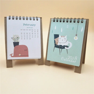 1 pc 2017-2018 16-Month Small Desk Calendar Table Calendar Schedule Cats