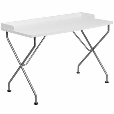 White Computer Desk with Silver Frame
