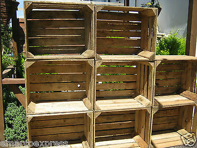 6 wooden crates fruit apple boxes vintage home decor