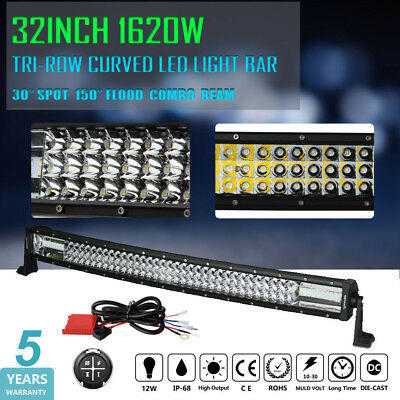 8D+ 32inch Curved 1620W CREE LED Light Bar Spot Flood Offroad Driving Lamp 30 AU