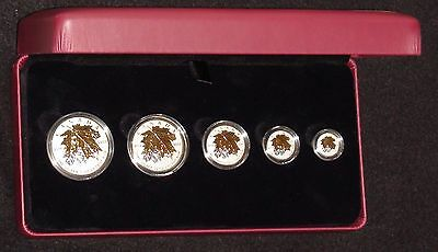 2014 Canada 5 Coin 24k Gold Gilded Reverse Proof Silver Maple Leaf Set in OGP