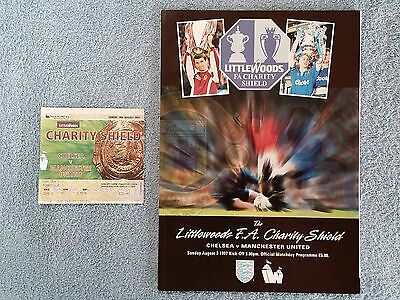 1997 - CHARITY SHIELD PROGRAMME + MATCH TICKET - CHELSEA v MANCHESTER UNITED