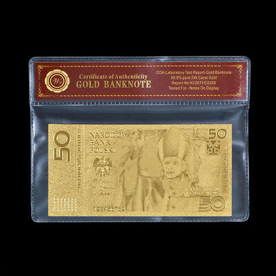 WR Poland Pope John Paul 50 Zlotych Gold Banknote Polish Collection For Birthday