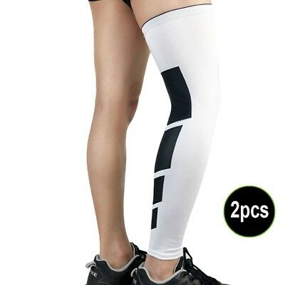 (XL, White) - Adealink 2 Pcs Recovery Compression Leg Sleeve Sport Football Bask