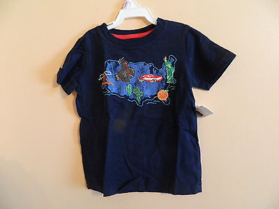 """NWT baby Gap boy green navy t-shirt w/blue map & embroidered """"sites""""; 18-24m"""
