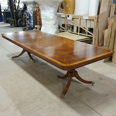High end 10' mahogany traditional banded 2 pedestal formal dining table seats 10