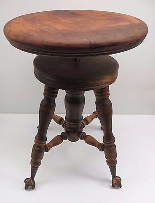 Antique Glass Ball & Claw Foot Piano Stool~19' Tall