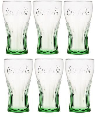 6 Coca-Cola 16 oz Vintage Drinking Glasses Tumbler Green Coke New