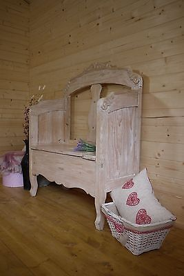 Beautiful Solid lime washed pine settle, hall seat, storage monks bench, pew.