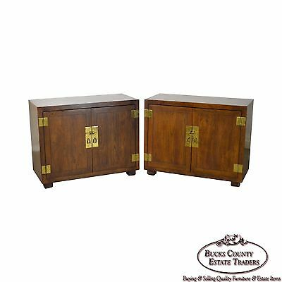 Henredon Pair of Campaign Style 2 Door Cabinets
