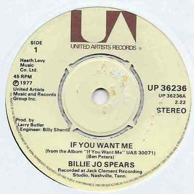 "Billie Jo Spears - If You Want Me - 7"" Single"