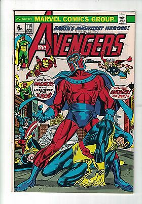 Marvel Comic The Avengers  no 110 Apr 1973 Magneto & The X-Men app