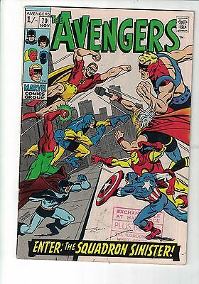 Marvel Comic The Avengers  no 70 NOV 1969 1st app Of The Squadron Sinister