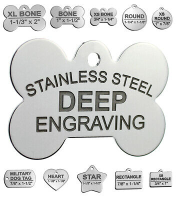 Stainless Steel Custom DEEP Engraved Pet ID Tags Personalized For Cat and Dogs