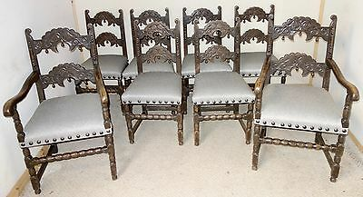 Set of 8 Carved Oak Derbyshire Chairs, c.1910 nationwide delivery available