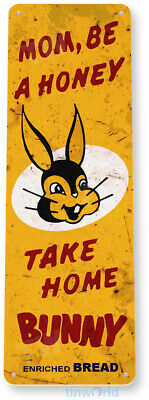 TIN SIGN B756 Bunny Bread Kitchen Cottage Bakery Rustic Retro Bread Metal