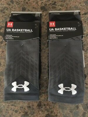 Under Armour Basketball Adult Drive Crew Socks Size Large 9-12 Lot Of 2 NWT