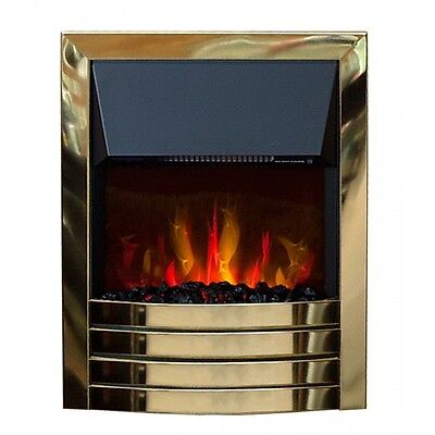 Arundel 2KW Electric inset Fire Remote Control LED Coal Flame Effect - Brass