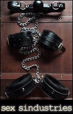 bondage kit open mouth gag  hand cuffs ankle cuffs restraints shackles