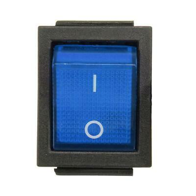 DPST Blue LED Lit Square Rocker Switch 4-Pin On/Off Snap-In 15A/240V 20A/120V AC
