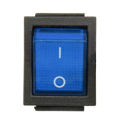 DPST Blue LED Lit Square Rocker Switch 6-Pin On/Off Snap-In 15A/240V 20A/120V AC