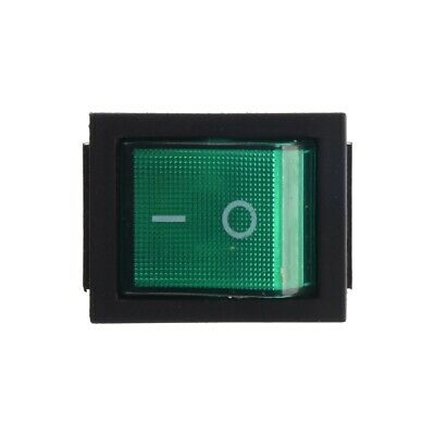 DPST Green LED Lit Square Rocker Switch 4-Pin On/Off Snap-In 15A/240V 20A/120VAC