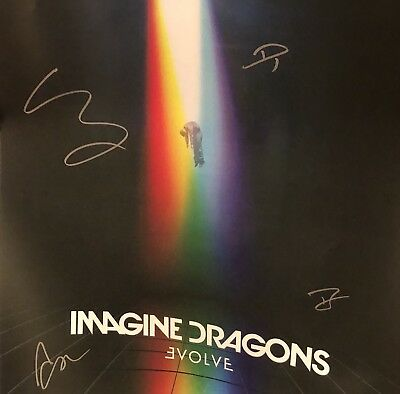 IMAGINE DRAGONS EVOLVE AUTOGRAPHED SIGNED 24x24 LITHOGRAPH POSTER PRE ORDER RARE