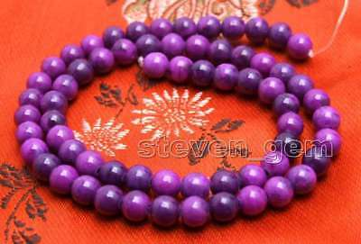 6mm purple Round natural sugilite Loose Beads strand 15'' jewelry making-los764
