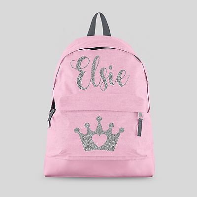 Personalised Kids Backpack - Any Name Crown Tiara Girls Back To School Bag #CBPT