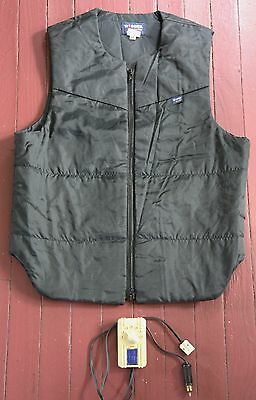 Excellent Condition WIDDER Lectric-Heat Motorcycle Vest-Size 44-Black Nylon-USA
