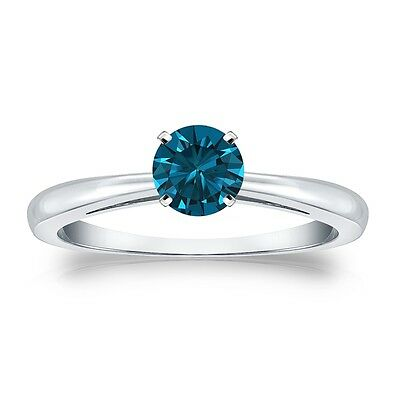 2.25 Ct Round Blue Real 14K White Gold Solitaire Engagement Wedding 4-Prong Ring