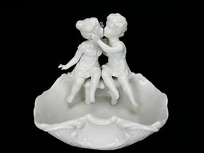 Girl and Boy Kissing Couple Planter Trinket Dish Figurine Porcelain