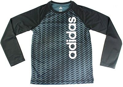 (Youth Small 8, Printed Long Sleeve, Black) - adidas Youth Performance