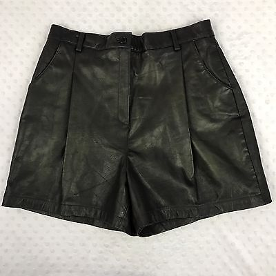 Black Leather Shorts Pleated High Rise Vintage Mom Style Sz 16 Boutique Europa