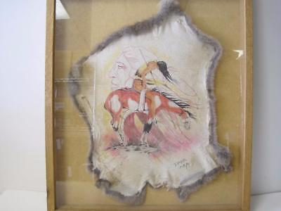 Original Painting On Rabbit Hide Lakota Artist Paha Ska Signed Native American