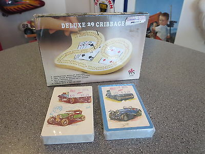 Vintage Crib Board,delux 29 Cribbage Board And Vintage Car Playing Cards Sealed